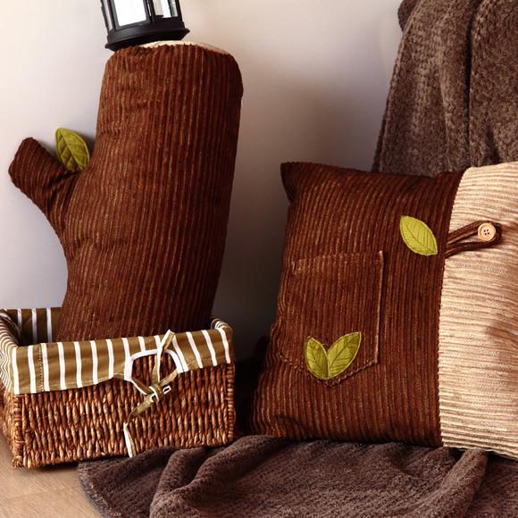 创意个性毛绒玩具 树桩树枝圆柱木头抱枕 办公室靠枕