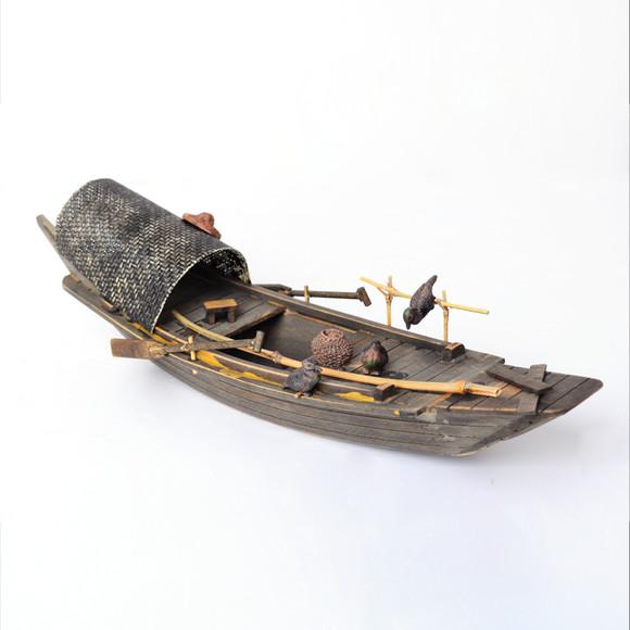 渔船模型水乡特色手工木船实木做旧木制摆件乌篷船