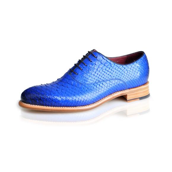宝蓝色蟒蛇皮皮鞋