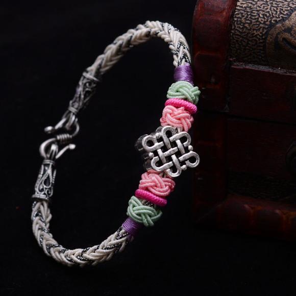 龙结手工饰品手工编织手链藏银盘长编织手绳民族风绳