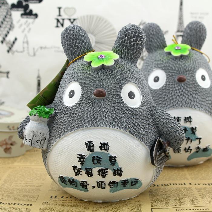 萌萌哒 四叶草龙猫树脂存钱罐 创意树脂摆件可爱宫崎骏龙猫储蓄罐