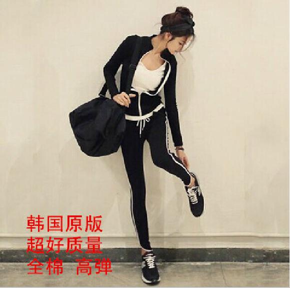 顶尖健身女子 2015韩国东大门修身紧身女士运动服