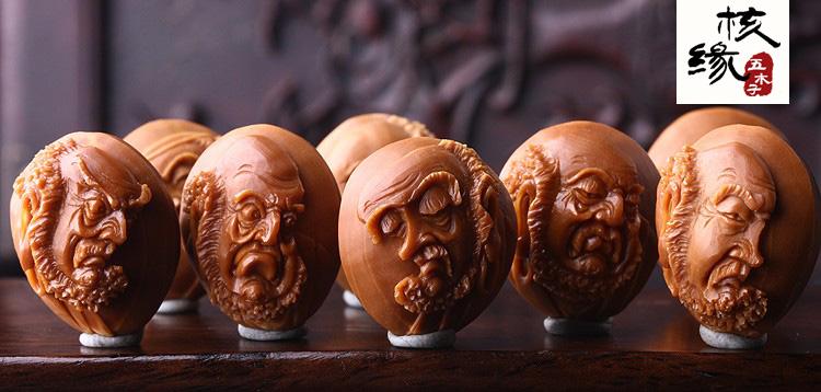 王世军达摩禅悟铁籽名家纯刀工橄榄核雕文玩手串橄榄