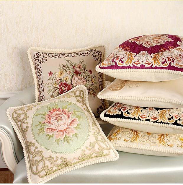 欧式沙发靠垫 高档刺绣抱枕