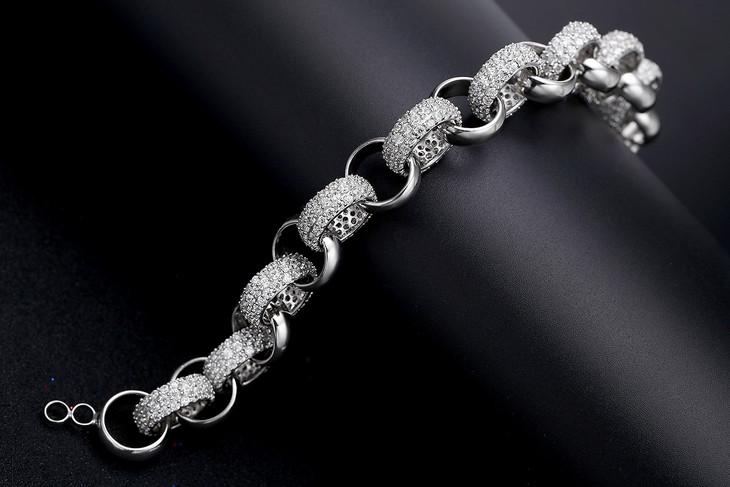 霸气粗款圆圈纯银手链s925银微镶钻手饰复古潮流银手链