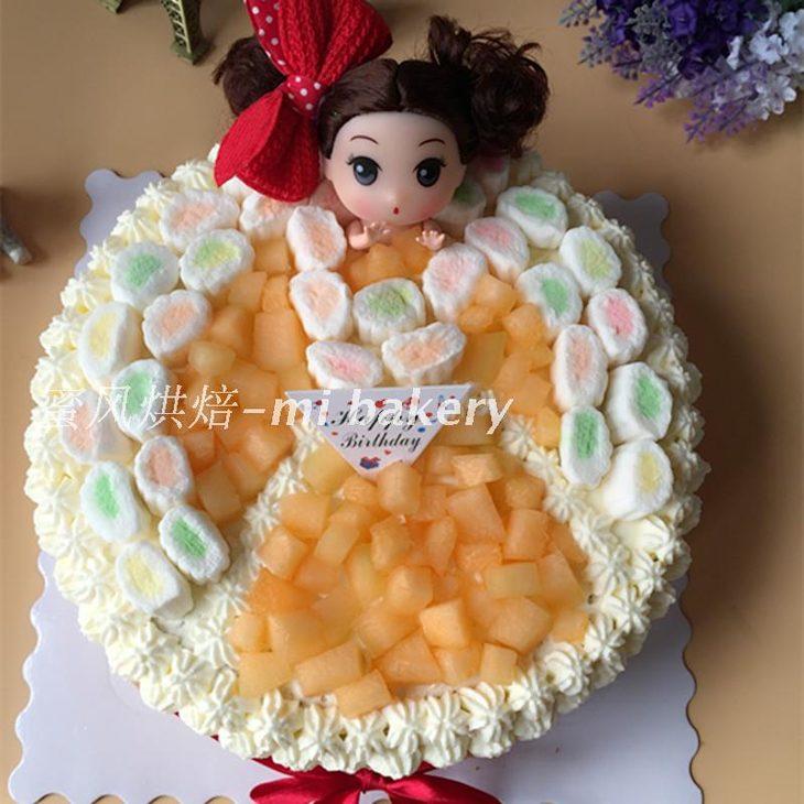 【蜜风烘焙】 小公主 可爱娃娃棉花糖 戚风水果蛋糕