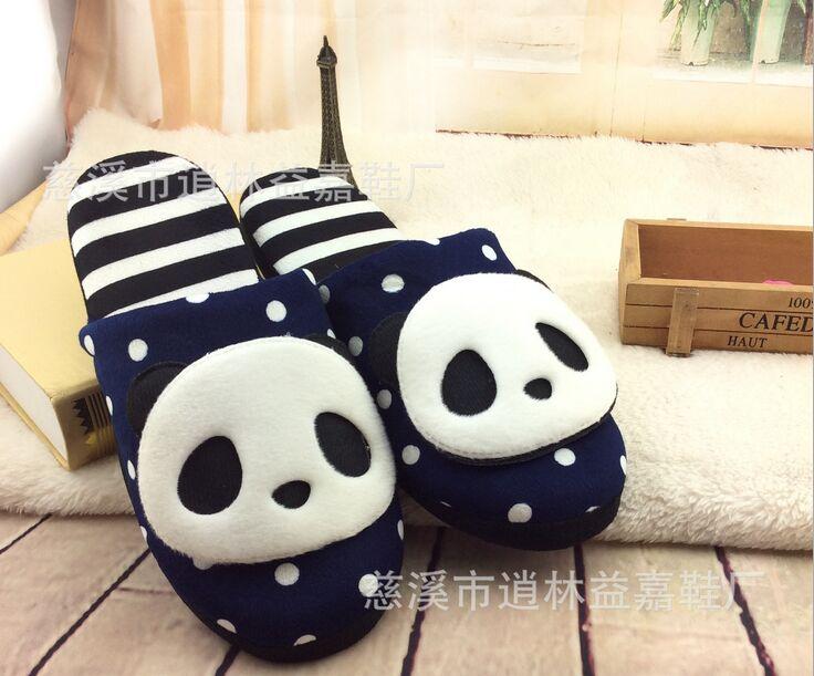 新款 熊猫超萌可爱室内软底棉鞋棉拖鞋 地板拖居家防滑保暖棉拖