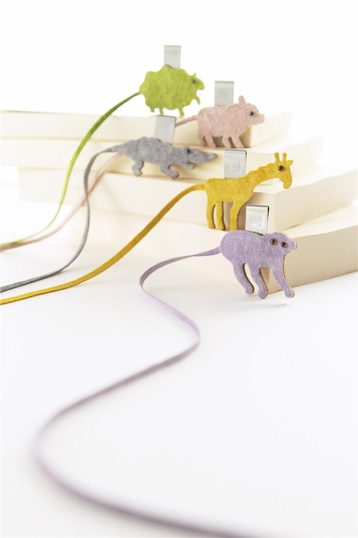 日本【plus d】皮革可爱小动物书签