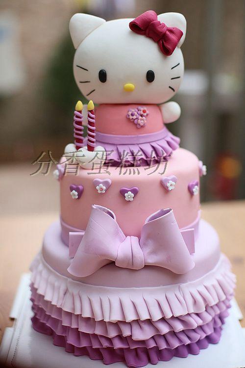 双层翻糖蛋糕立体kitty猫蛋糕