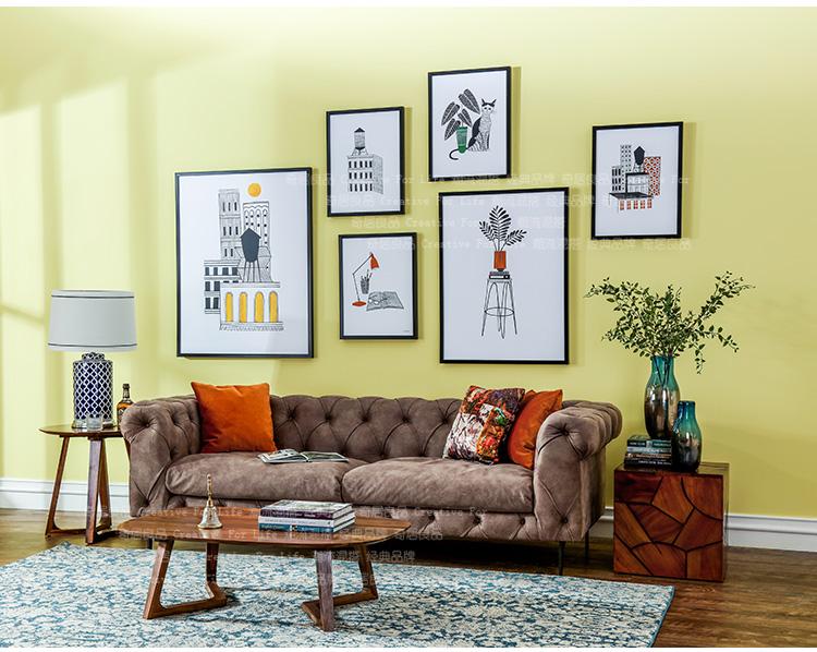 现代简约北欧客厅沙发背景墙装饰挂画卡加其实木框画