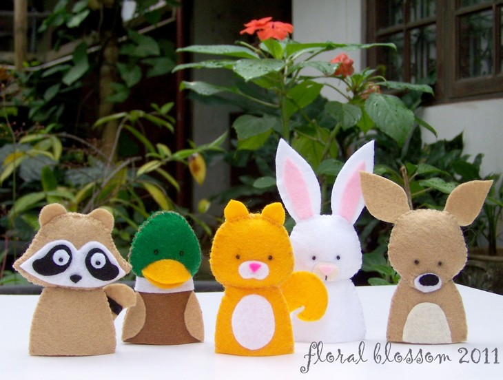 免剪不织布材料包手工diy/手指玩偶动物园兔子 浣熊鸭子指偶套