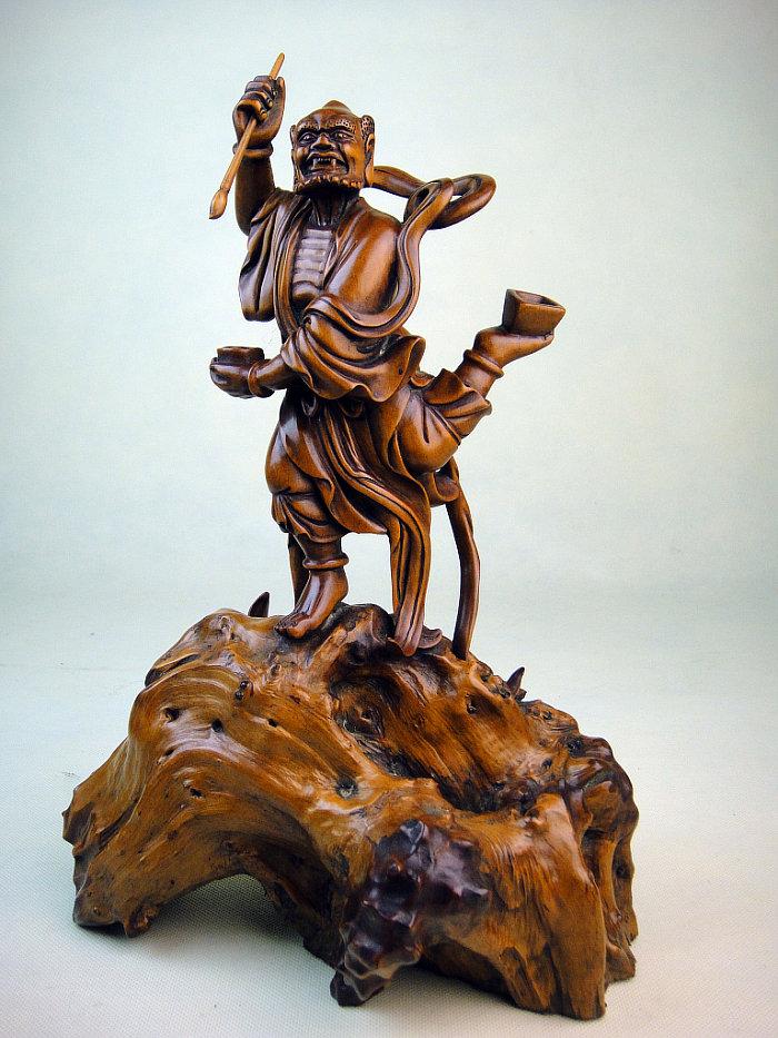 黄杨木雕件古色人物魁星点斗