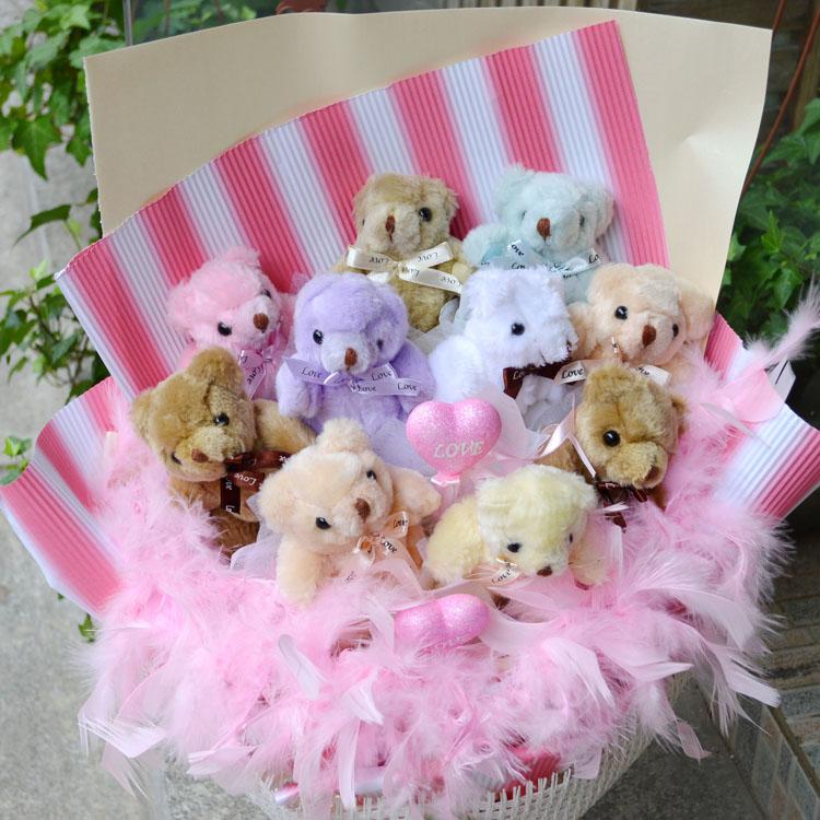 可爱小熊花束公仔花束泰迪熊10只送恋人生日预定