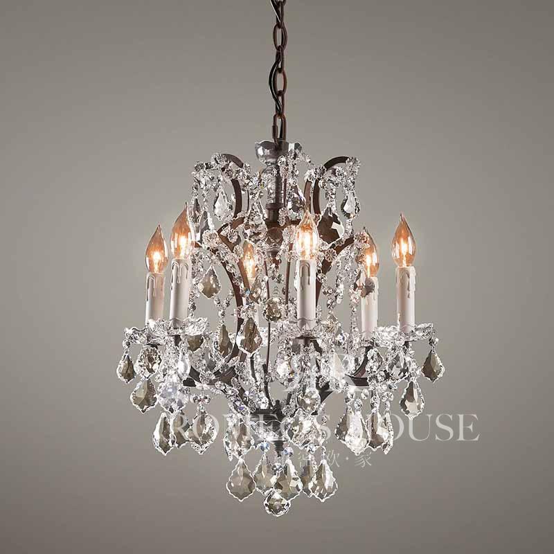 欧式复古水晶铁艺吊灯法式洛可可风格蜡烛形灯座乳白色灯饰yd20056