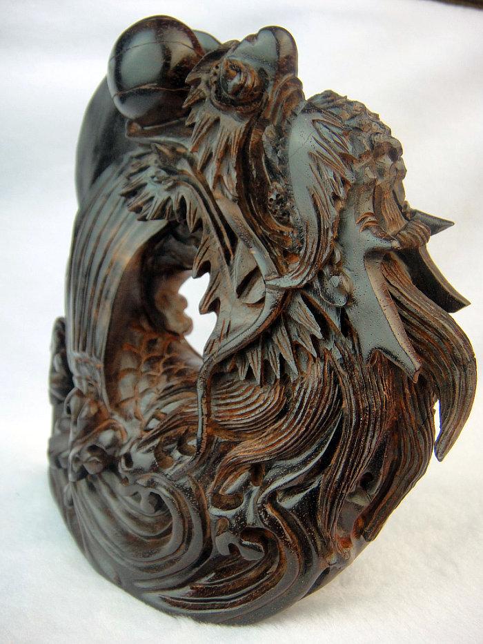 印度小叶紫檀手玩件雕件 精雕龙鱼摆件 小叶紫檀旭日东升h567号