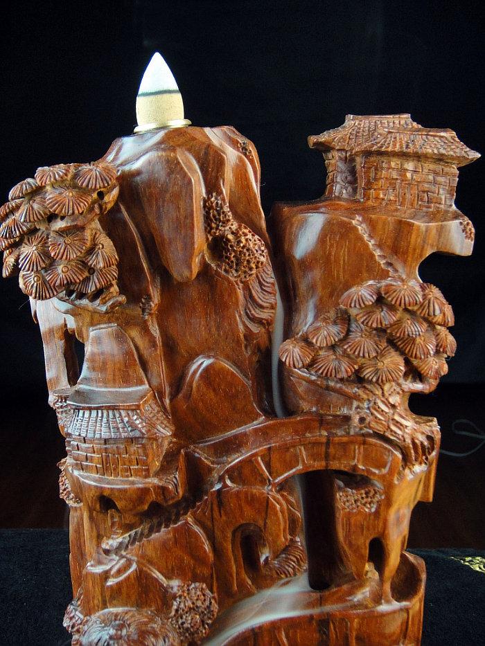印度小叶紫檀塔香炉香具木雕件 紫檀倒流香炉香座青山白云摆件