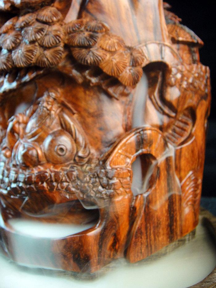 印度小叶紫檀线香炉香具木雕件 紫檀倒流香炉香座李白
