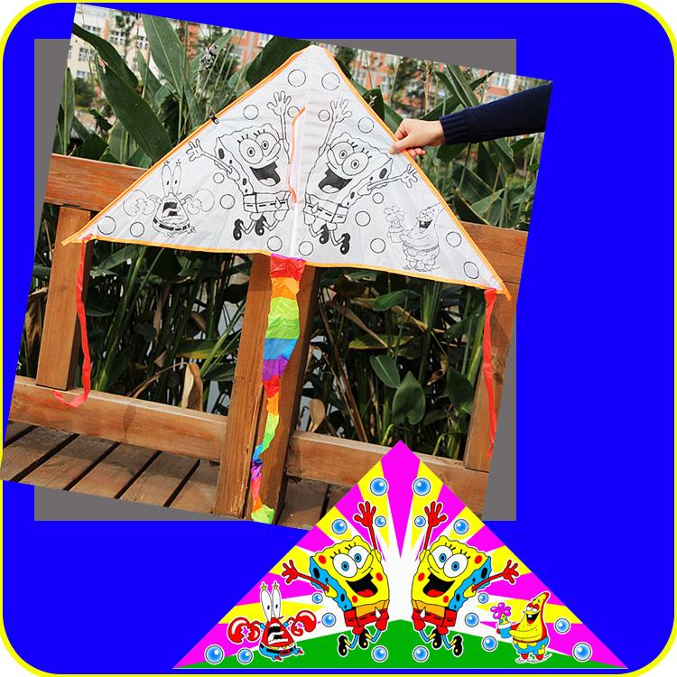儿童绘画 手工diy教学涂色上色填色手绘涂鸦风筝空白风筝批发包邮