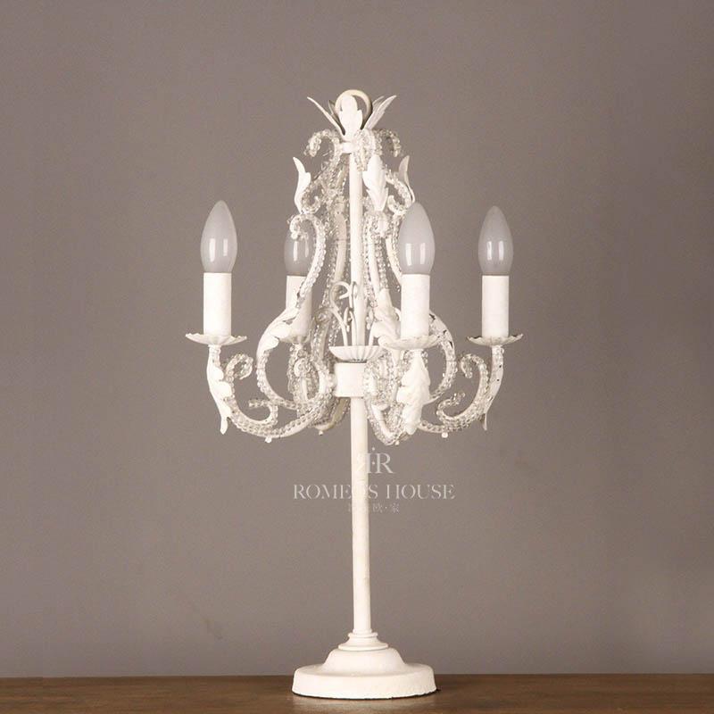 欧式法式复古台灯灯具灯饰铁艺底座水晶装饰串珠软装