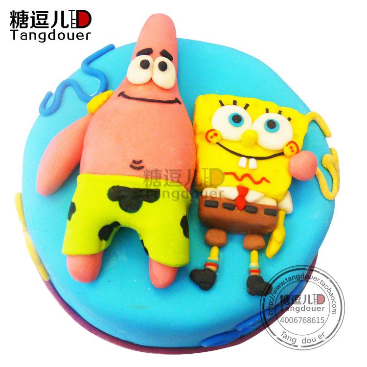糖逗儿翻糖蛋糕 海绵宝宝胖大星儿童生日蛋糕定制 北京同城配送