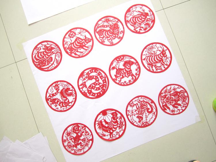 十二生肖剪纸 纯手工剪纸画